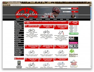 Screenshot of Dees Cycles website