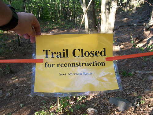 Trail closed for maintenance
